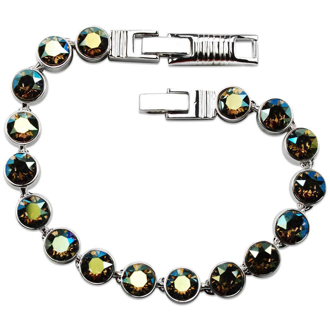tennis armband crystalp swarovski kristall schmuck gr n braun. Black Bedroom Furniture Sets. Home Design Ideas