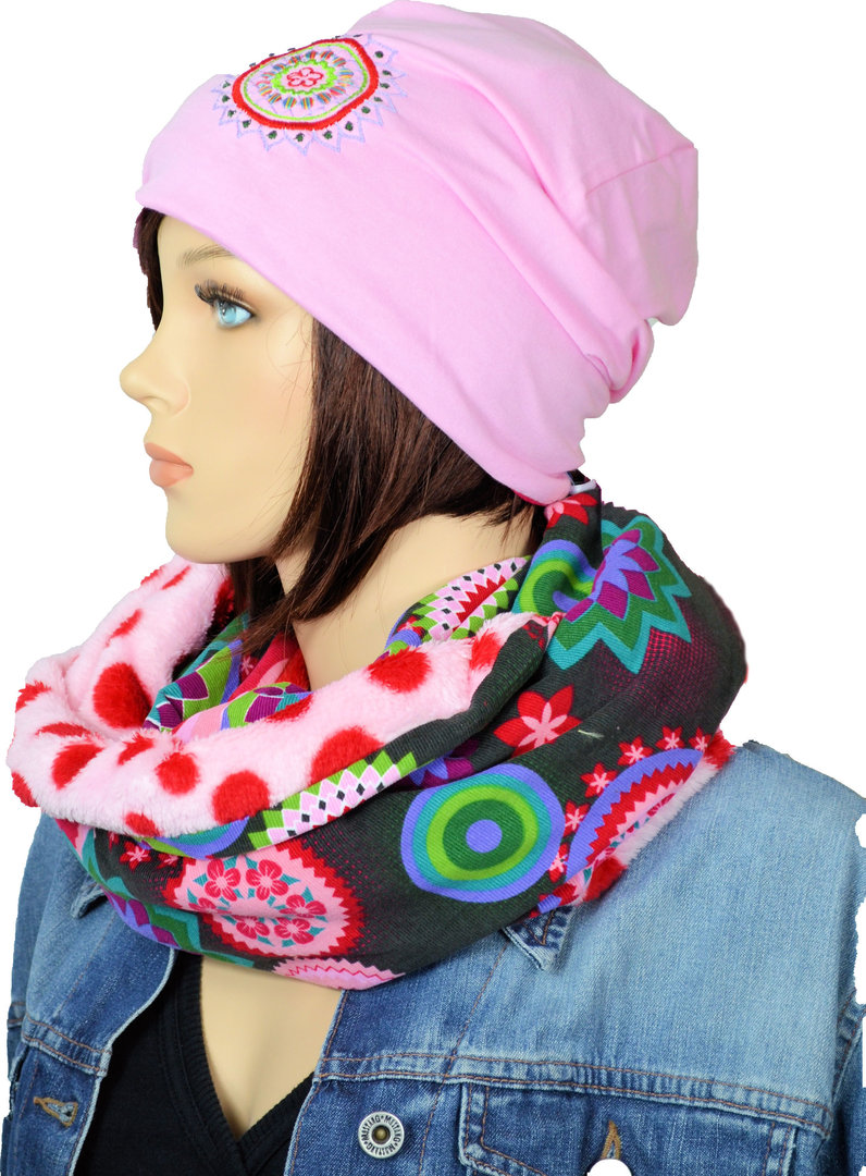 Beanie Loopschal Winter Set Fleece bunt gemustert Rosa