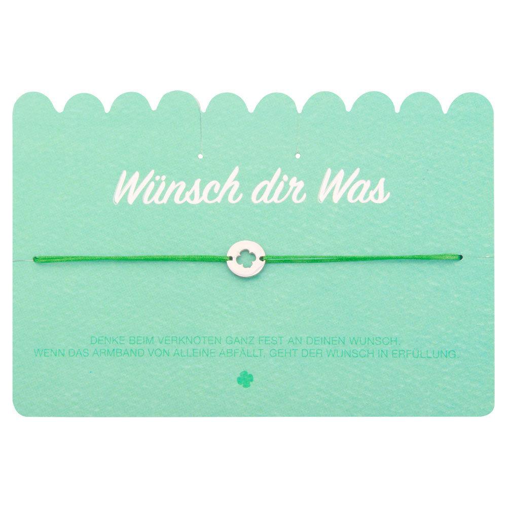 Wünsch Dir Was Freundschafts Wunsch Armband Grün mit Kleeblatt Glücksbringer