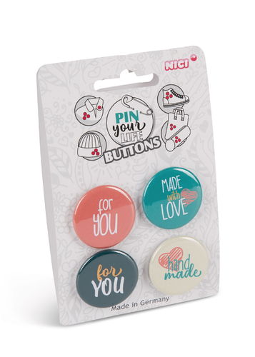 Anstecker Button Pin 4er Set Spruch For You